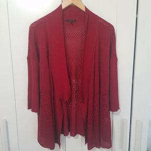 Eileen Fisher Red Open Front Cardigan Sweater